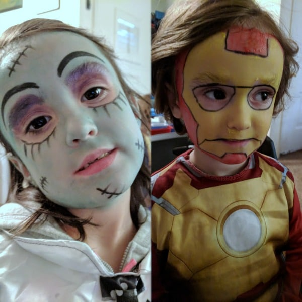 Halloween face paint for Iron Man and Frankie of Monster High