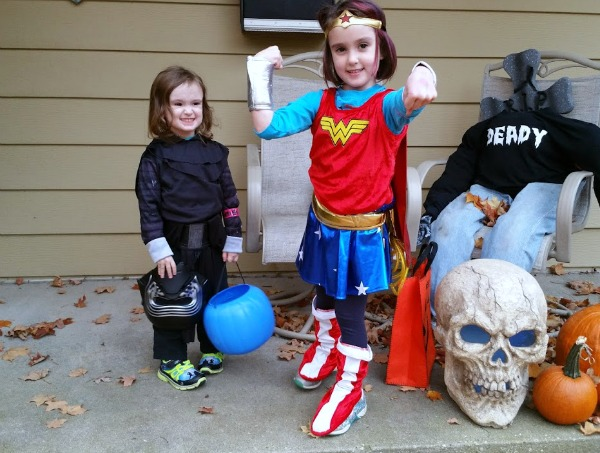 Author's kids dressed as Wonder Woman and Kylo Ren for Halloween.