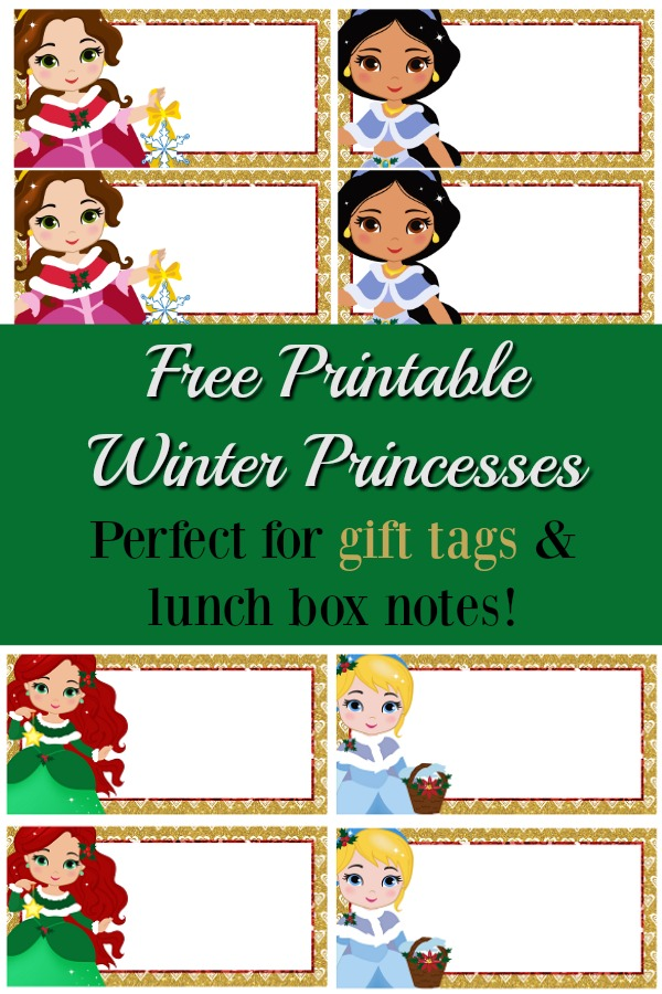 Looking for cute printable lunch box notes or printable gift tags? These holiday princess printables are perfect for both!