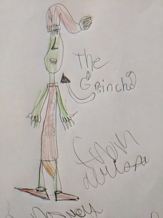 Child's drawing of The Grinch