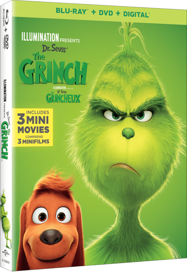 Dr. Seuss The Grinch movie box art featuring The Grinch and his dog