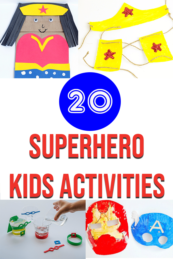 Collage of superhero crafts and activities for kids.