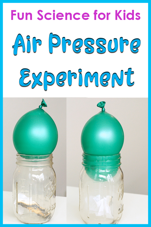 Demonstrating air pressure with a balloon and a jar science activity for kids.