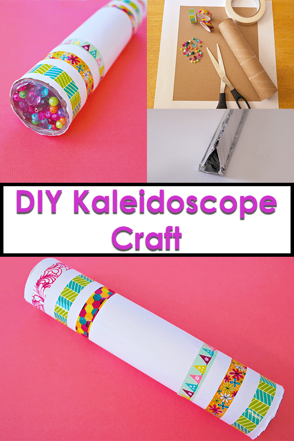 Collage image of homemade kaleidoscope craft from different angles and supplies used.