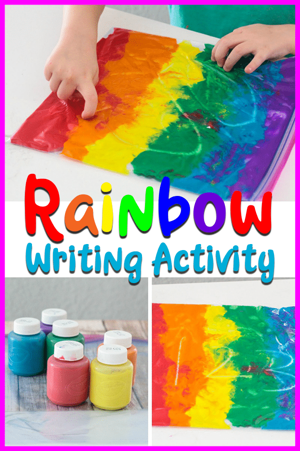 Mess-free sensory writing activity with rainbow paint.