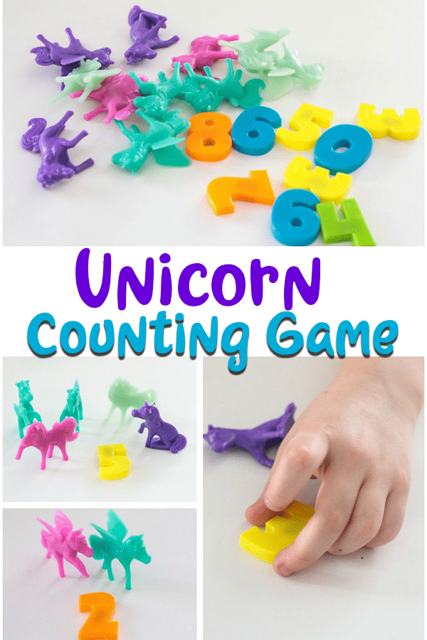 Fun and simple unicorn counting game for kids using unicorn toys and numbers.