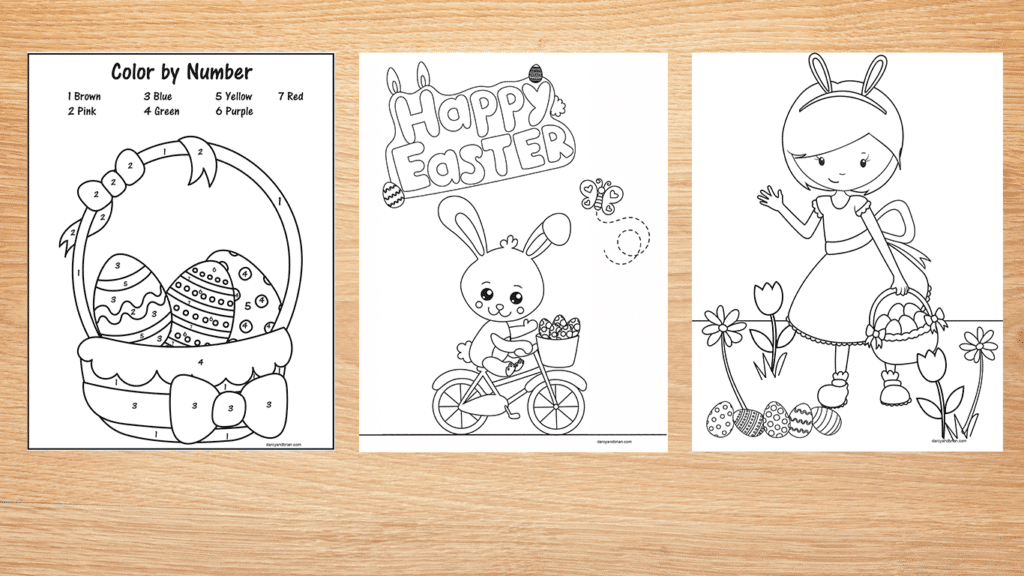 Easter printables color by number basket, bunny on bike, and girl on egg hunt