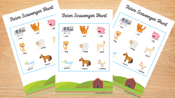 Farm scavenger Hunt Printable for Kids