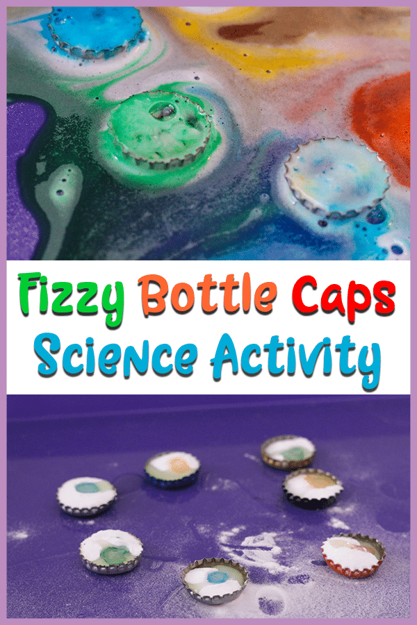 Fizzy bottle caps science activity for kids picture collage