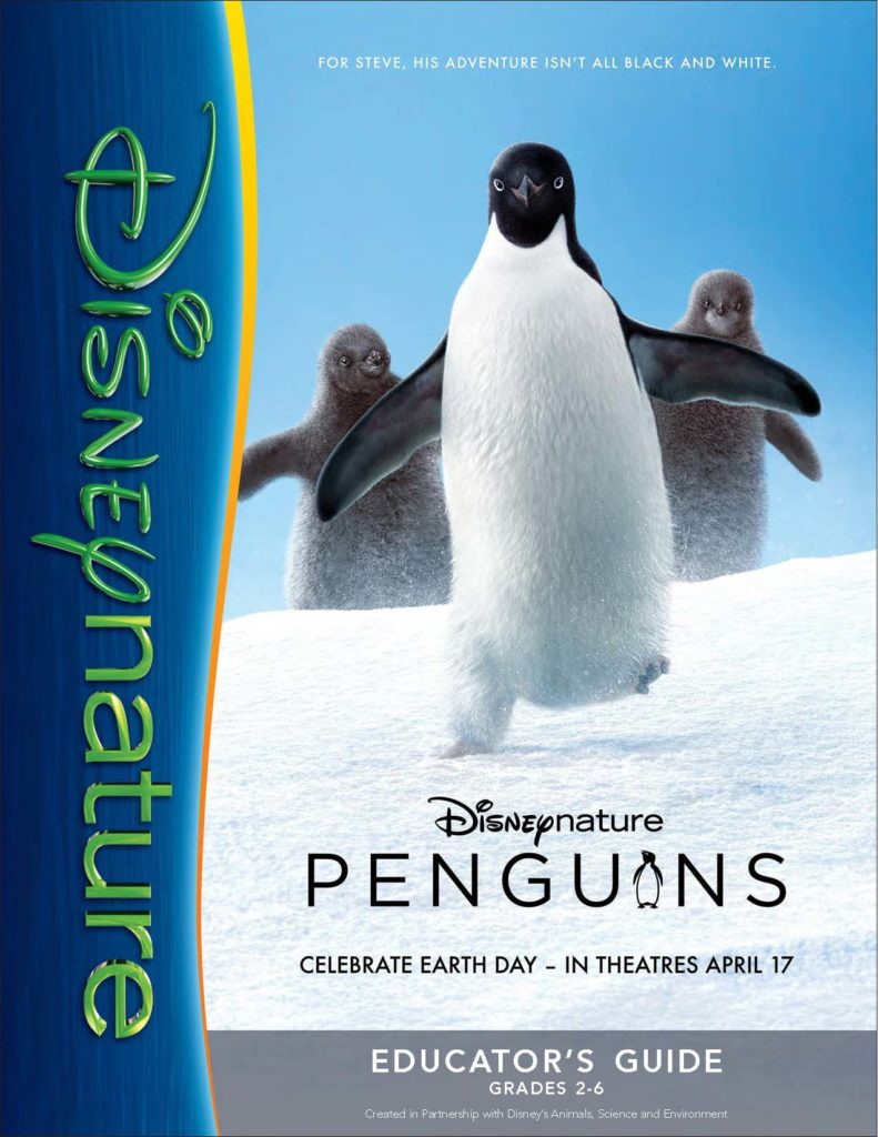 Disney Nature Penguins Educator Guide which includes several lesson plans for learning about penguins and Antarctica. Designed for grades 2-6.