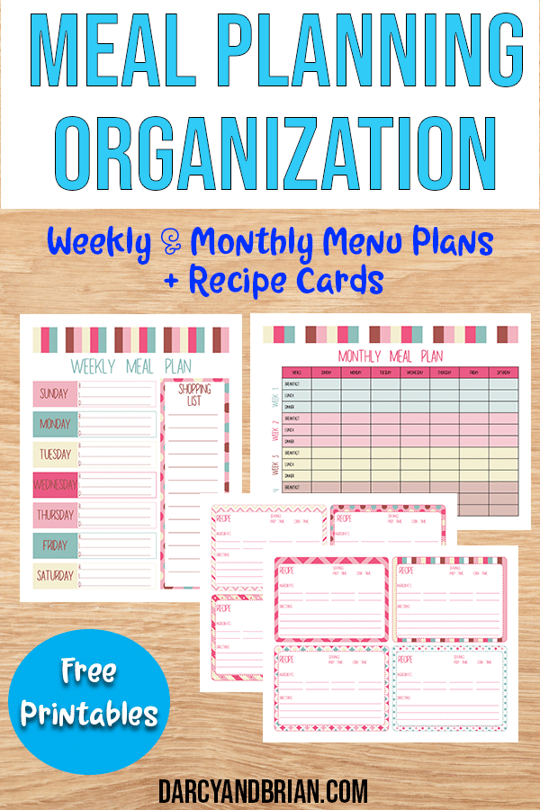 Bundle of Menu Planning Printable Templates