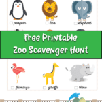 Zoo animals on a printable scavenger hunt for kids