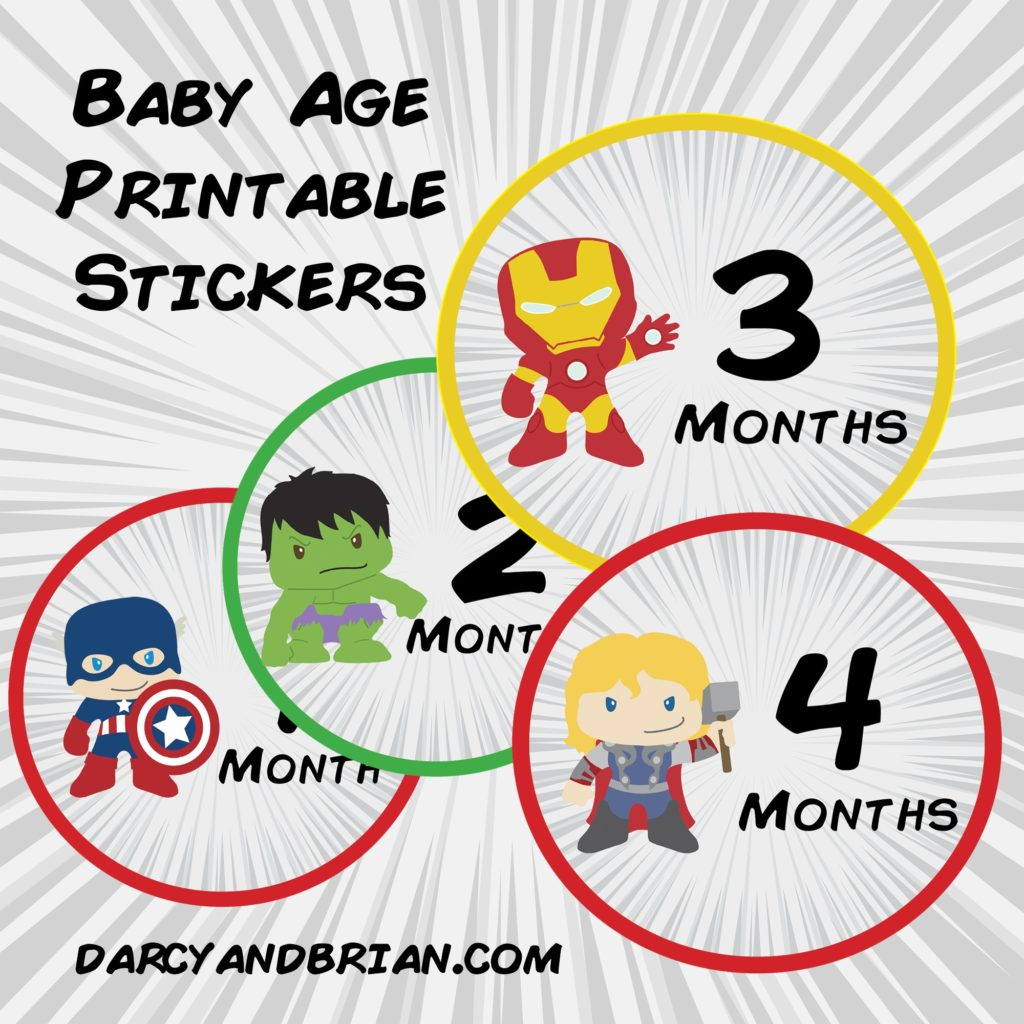 Babies assemble! Document your little superhero's first year with these cute Avengers themed monthly baby age stickers printable.