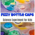 Fizzy bottle caps science experiment tutorial for kids