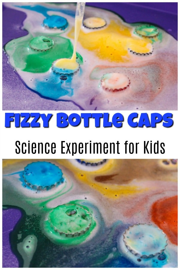 Fizzy Bottle Caps Science Experiment for Kids tutorial with pictures
