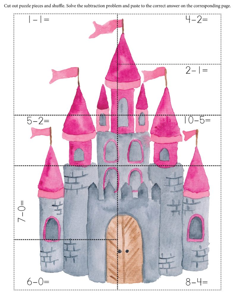 Castle subtraction math puzzle printable