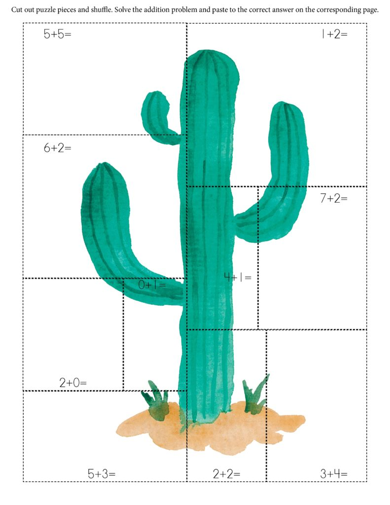 Cactus addition math puzzle cut and paste
