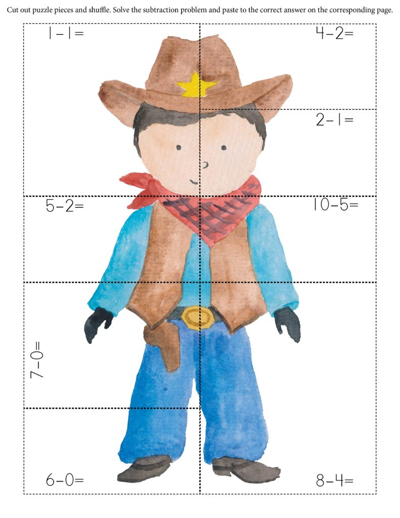 Free printable cowboy subtraction math sheet