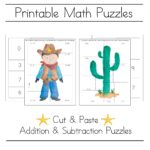 Free cowboy printable math picture puzzles
