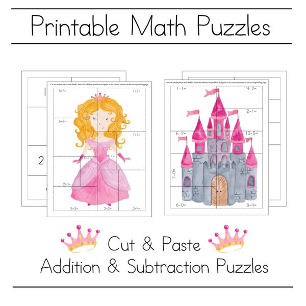 Princess and castle math puzzle printables for kindergarten