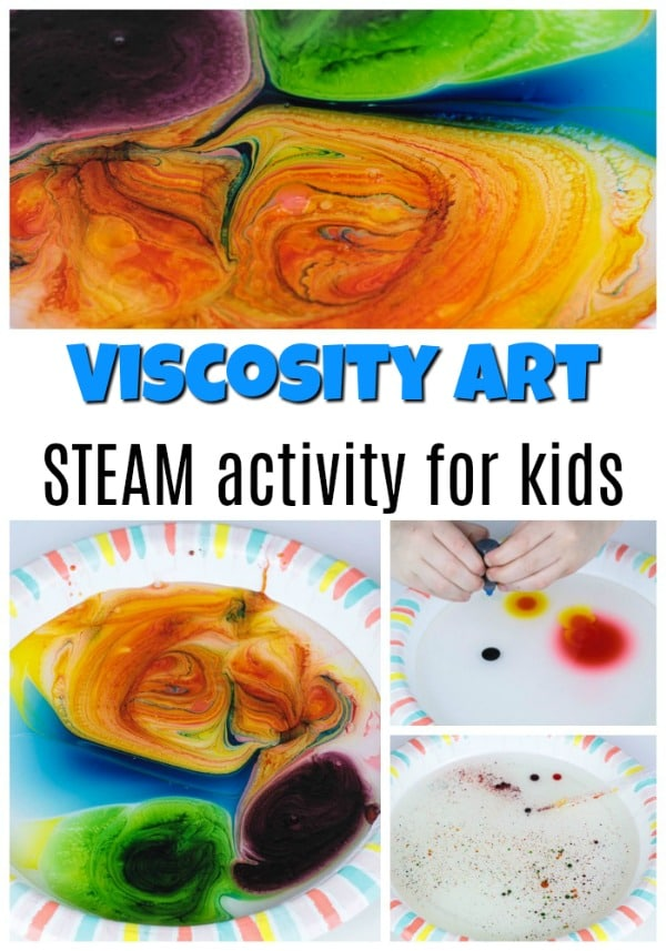 Fun and easy viscosity art and science activity for kids.