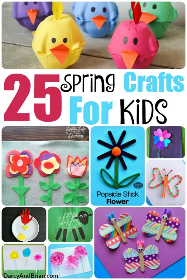 Collage of spring kids crafts