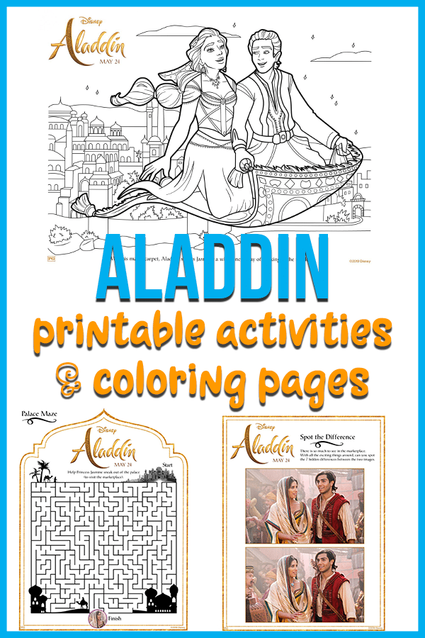 Grab these free printable Aladdin coloring pages and activities.