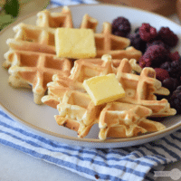 Buttermilk Waffle Recipe with Blackberries