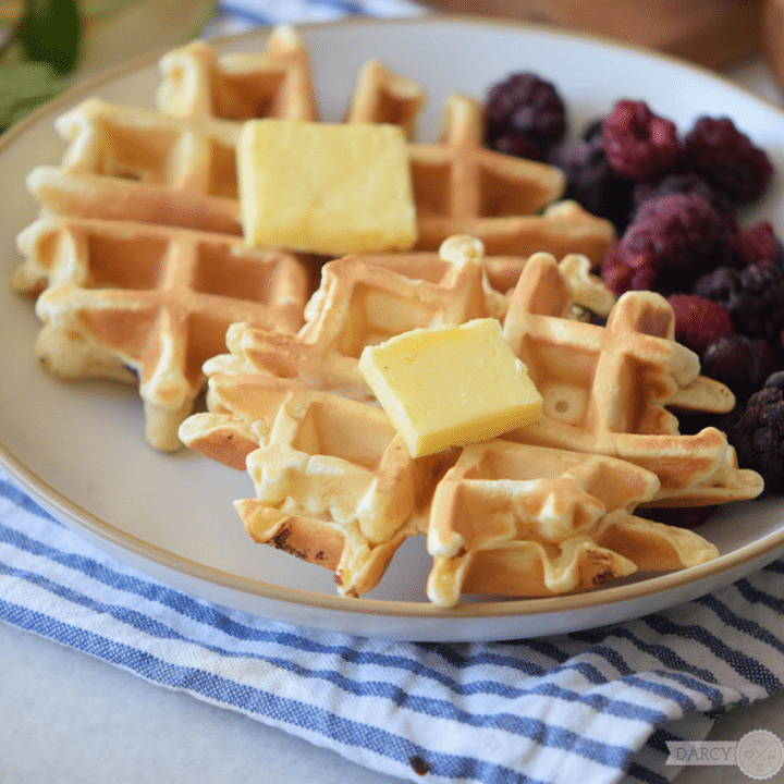 Buttermilk Waffle Recipe with Blackberries