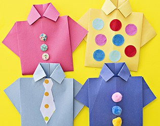 Easy Origami Shirt Father's Day Card
