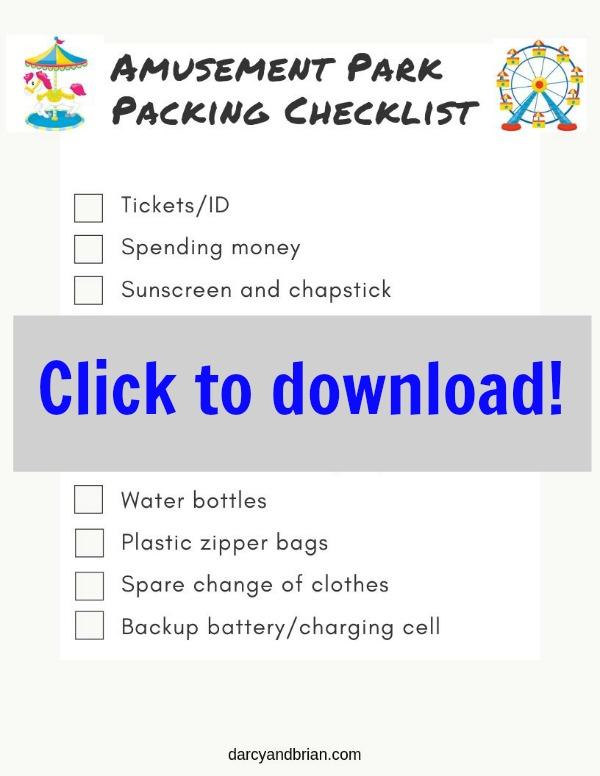 Printable Amusement Park Packing Checklist