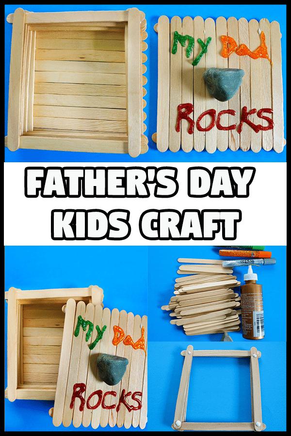 Collage of Dad Rocks Keepsake Box craft tutorial photos.