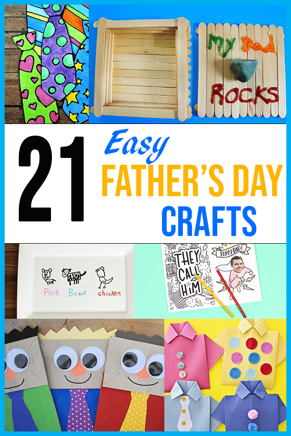 Collage of Father's Day kids crafts