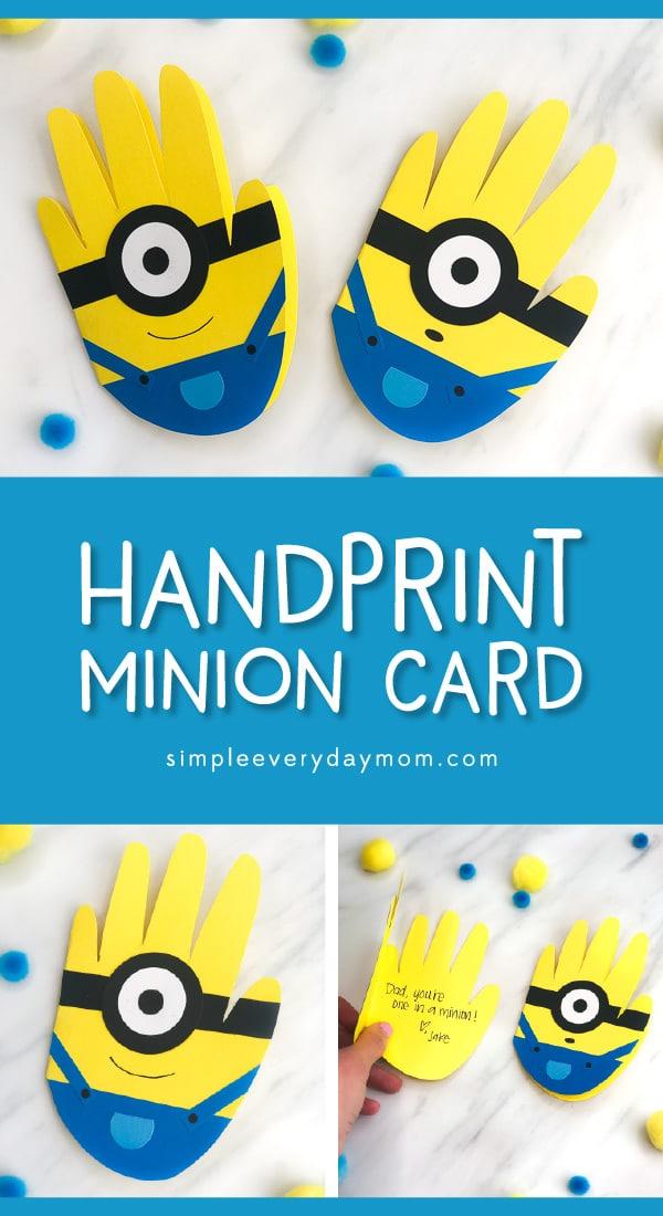 Simple Handprint Minion Card Craft For Kids
