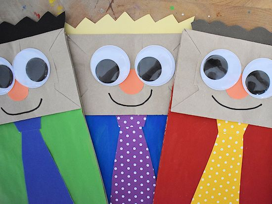 Paper Bag Dad Puppets