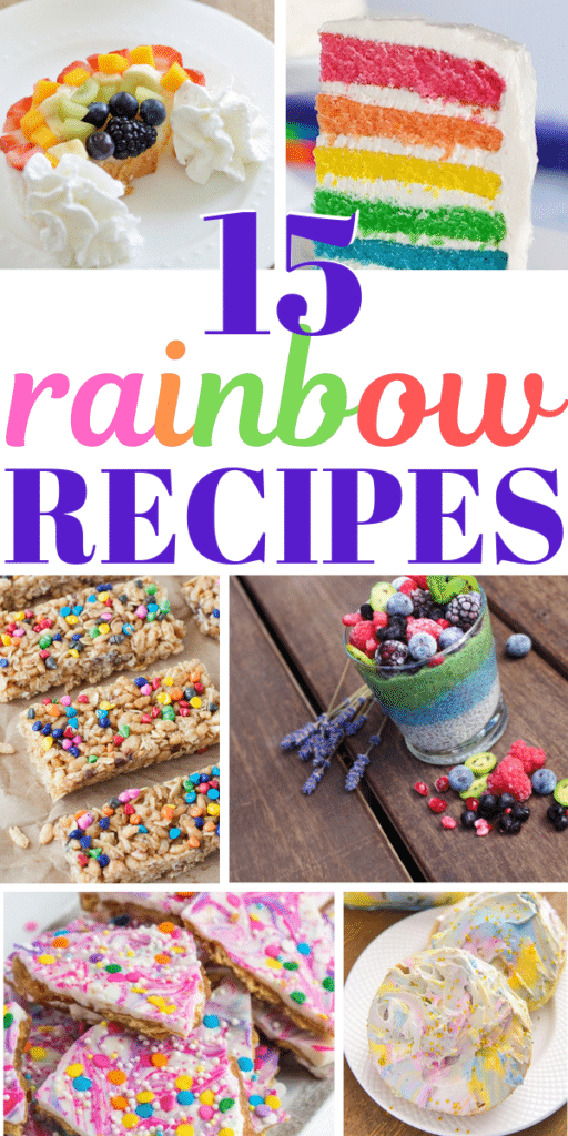 Collage of rainbow recipes for birthday parties