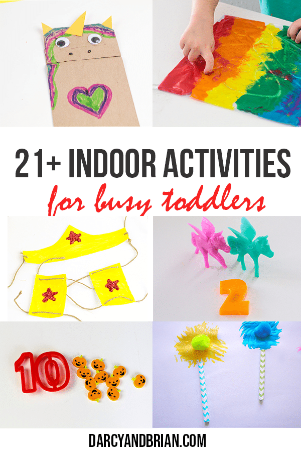 Collage of crafts and home activities for toddlers
