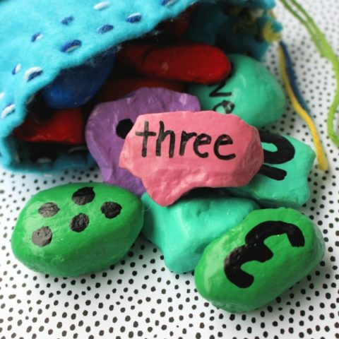 Numbered Rocks With Storage Bag Craft