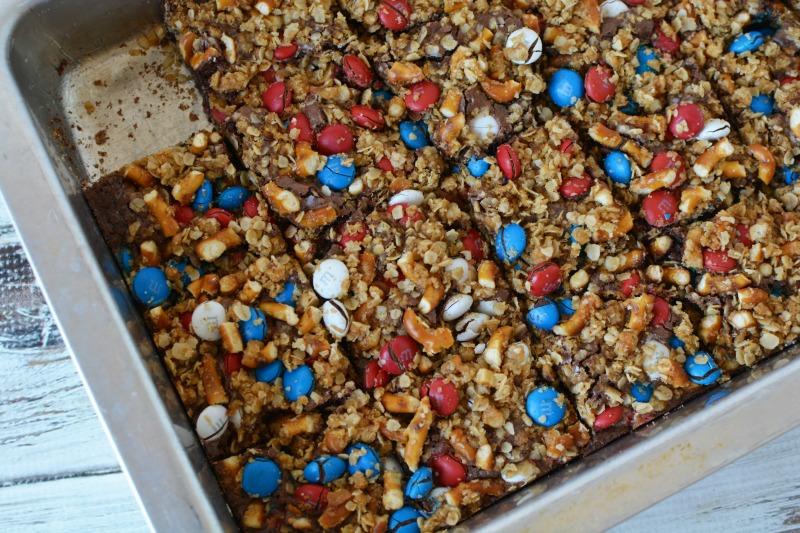Finished patriotic pretzel m&m brownies in baking pan