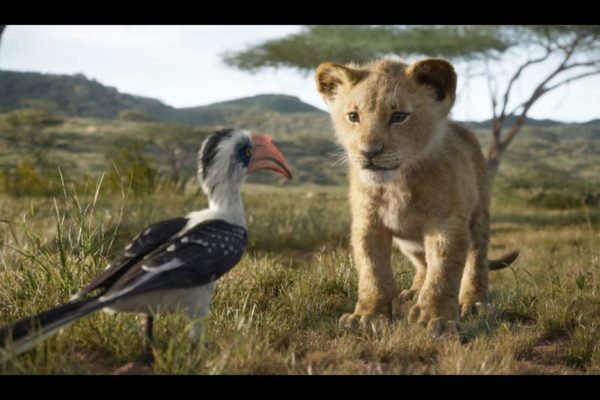 Lion King movie still courtesy of Disney featuring young Simba with Zazu.