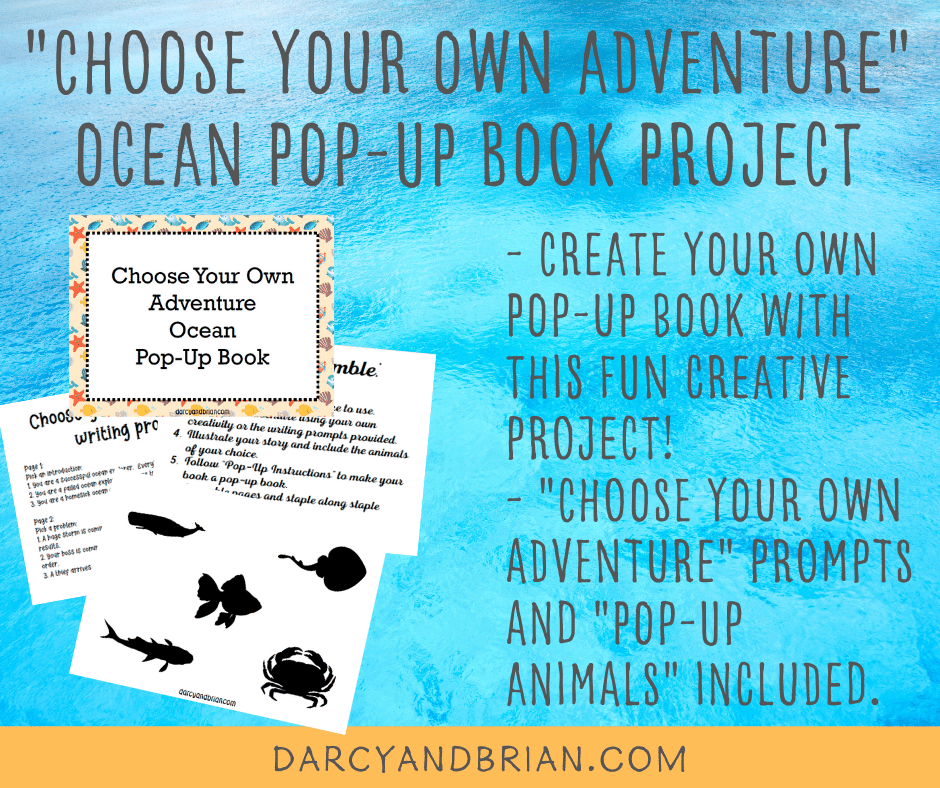 Example pages from ocean pop up book printable on blue background.