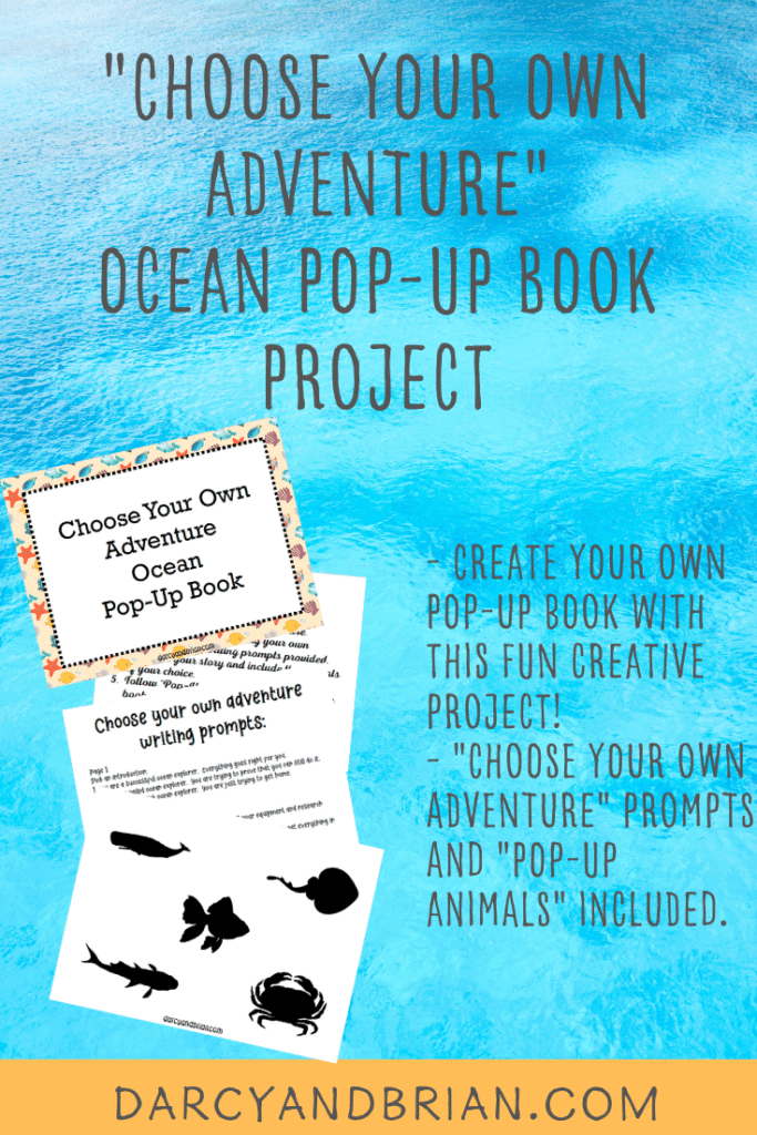 Image of pages from printable pack and text overlay stating Choose Your Own Adventure Ocean Pop Up Book Project