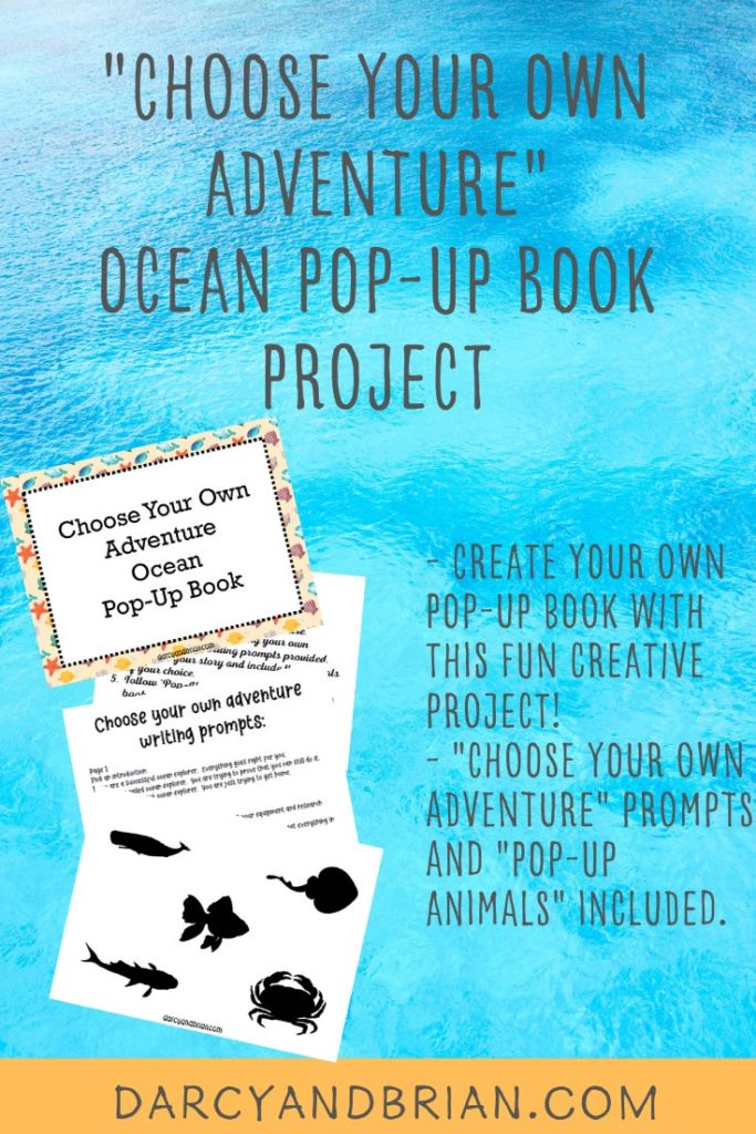 Preview images of pages from printable pack and text overlay stating Choose Your Own Adventure Ocean Pop Up Book Project