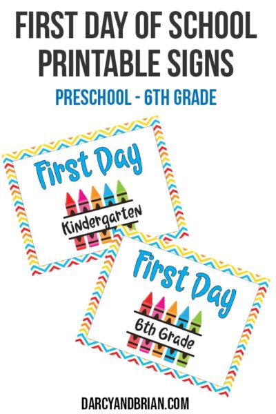Preview of colorful printable first day of school signs