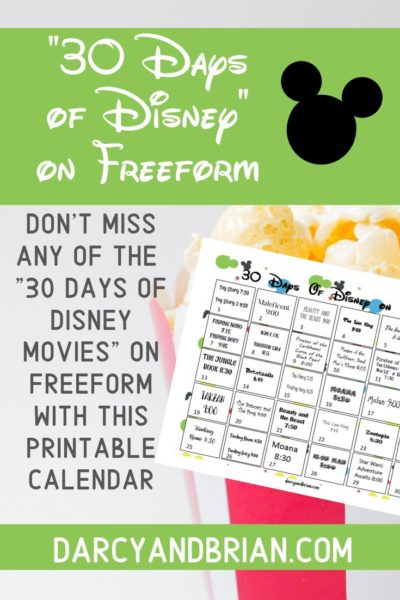 Preview of Disney movie calendar printable