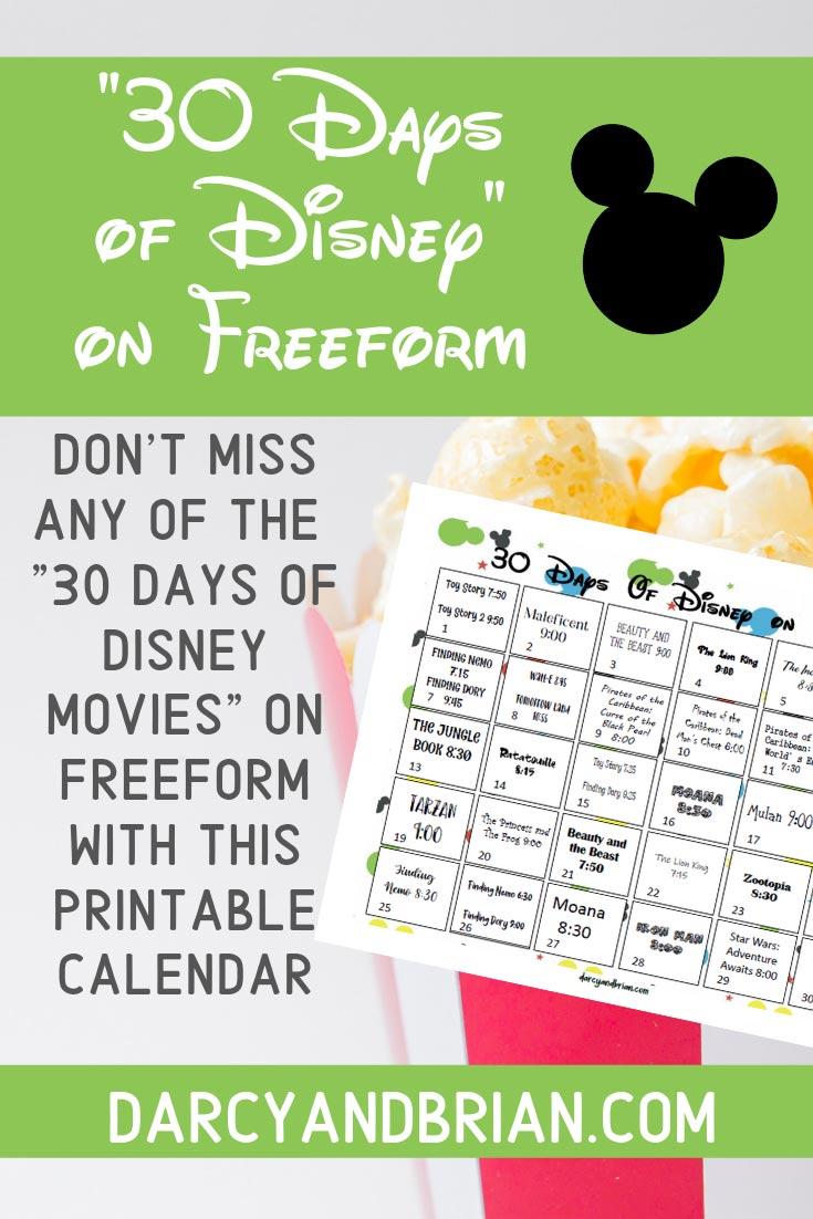 Preview of Disney movie calendar printable