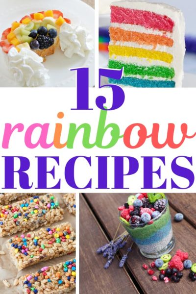 Collage of rainbow fruit, rainbow cake, and other recipes for birthday parties