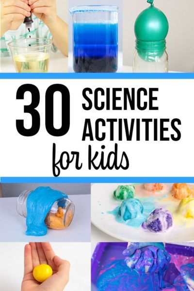 Image collage of science activities for kids