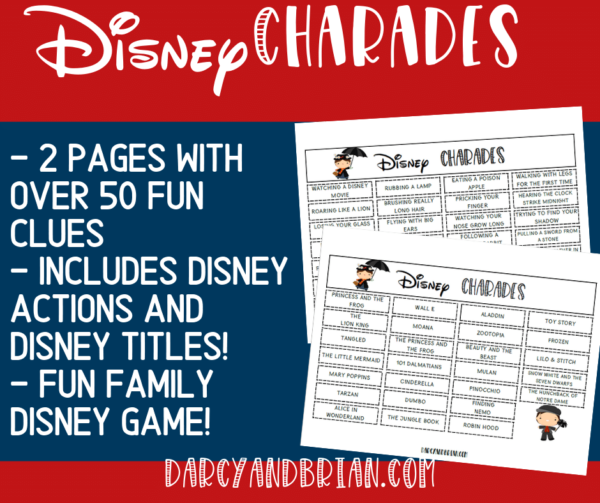 Image preview of Disney charades clues with text description.