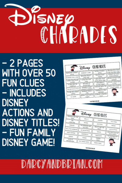 Preview image of printable Disney themed charades clues